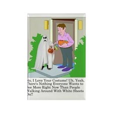 Halloween Trick or Treating Ghost Rectangle Magnet