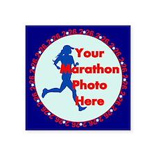 "Marathon Runner Photo Square Sticker 3"" x 3"""