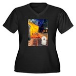Cafe & Bolognese Women's Plus Size V-Neck Dark T-S