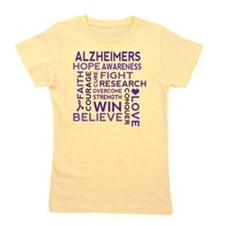 Alzheimers Support Word Cloud Girl's Tee