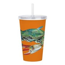Blue Crab Orange Acrylic Double-Wall Tumbler