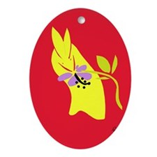 Bunny with sunset flower Ornament (Oval)