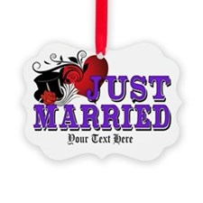 Just Married Picture Ornament