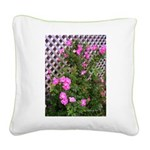 Roses and Trellis Square Canvas Pillow