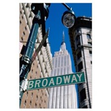 Broadway Sign And Empire State Building; New York
