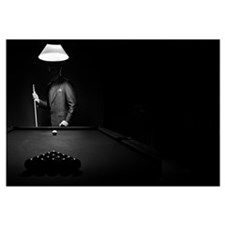 Mystery Pool Player Behind Rack Of Billiard Balls