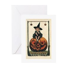 Halloween Greeting of a Girl Witch Greeting Cards