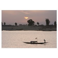Boat On The Niger River In Mopti, Mali, Africa