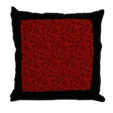 Elegant Red Baroque Damask Throw Pillow
