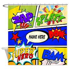 Super Hero Comic Book Shower Curtain