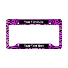 Pink Zebra Custom License Plate Holder