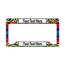 Rainbow Zebra Custom License Plate Holder