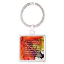 Flower - Quote Square Keychain