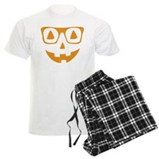 Orange Color Halloween Pumpkin wearing glasses Paj