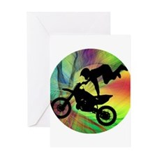 Motocross in Psychedelic Spider Web Greeting Cards