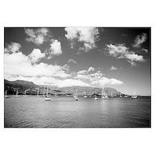 Hawaii, Kauai, Hanalei Bay, Sailboats In Ocean