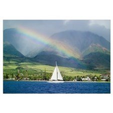 Hawaii, Maui, Lahaina, Rainbow In Front Of West Ma