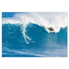 Hawaii, Maui, Peahi, Two Surfers Ride A Giant Wave