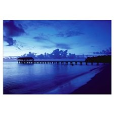 Hawaii, Kauai, Hanalei Bay, Pier At Twilight