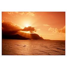 Hawaii, Kauai, Hanalei Bay, Bali Hai Point, Red Su