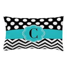 Black Teal Dots Chevron Personalized Pillow Case