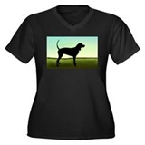 Coonhound In A Field Women's Plus Size V-Neck Dark