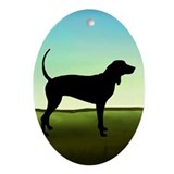 Coonhound In A Field Oval Ornament