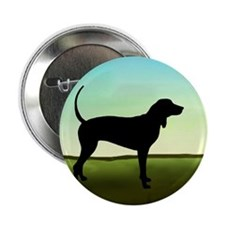Coonhound In A Field Button