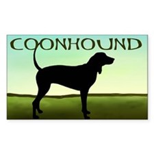 Coonhound In A Field Rectangle Decal