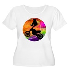 Motocross Jump in Fire Circles Plus Size T-Shirt
