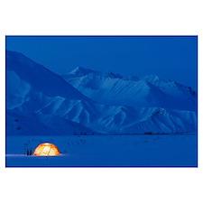 A Backpacking Tent Lit Up At Twilight Alaska Range