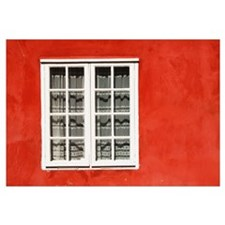 Red Timber House And Window Frame In Old Town