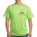 Masonic All Seeing Eye In Pyramid Green T-Shirt