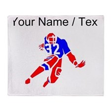 Custom Red And Blue Running Back Throw Blanket