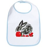 red flower blanket Bib