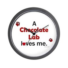 Chocolate Lab Loves Me Wall Clock