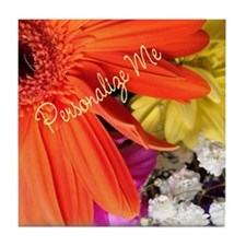 Personalized Flower Tile Coaster