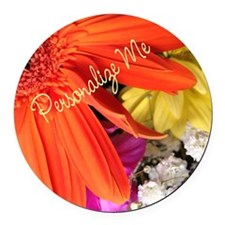 Personalized Flower Round Car Magnet