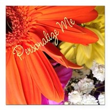"Personalized Flower Square Car Magnet 3"" x 3"""