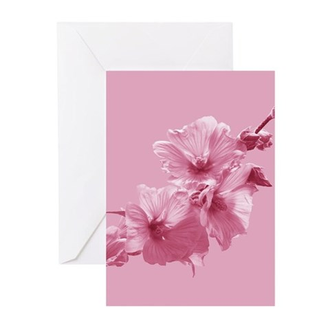 Flowers Photo/paint Pink Greeting Cards (pk Of 10)