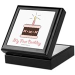 My First Birthday Cake Baby Girl Keepsake Box