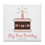 My First Birthday Cake Baby Girl Tile Coaster
