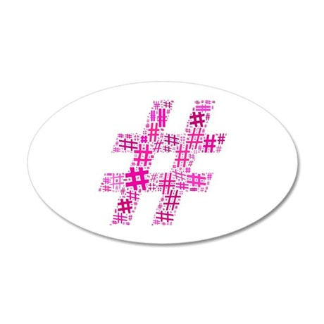 Pink Hashtag Cloud 35x21 Oval Wall Decal