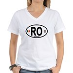 Romania Intl Oval Women's V-Neck T-Shirt