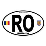 Romania Intl Oval Oval Bumper Stickers