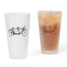 Cute Tandem bicycle Drinking Glass