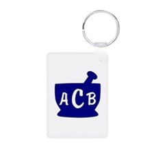 Blue Monogram Mortar and P Keychains