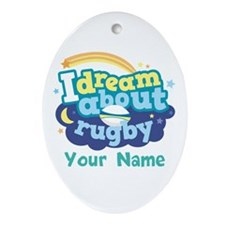 Rugby Custom Sports Gift Ornament (Oval)