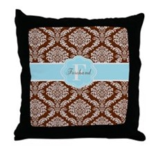 Brown Blue Damask Personalized Throw Pillow