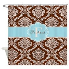Brown Blue Damask Personalized Shower Curtain